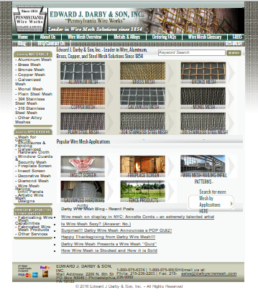 Old website screenshot, www.darbywiremesh.com