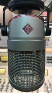 Neumann Microphone prominently featuring woven wire mesh